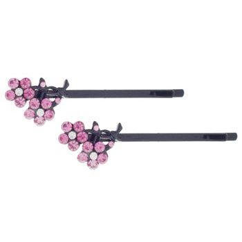 HB HairJewels - Crystal Flower Hairpins - Rose/Black (set of 2)