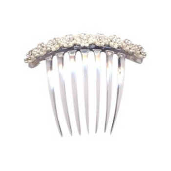 Karen Marie - Pearl & Crystal French Twist Comb - 9 Flowers