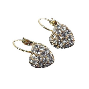 HB HairJewels - Austrian Crystal Heart Earrings - Gold