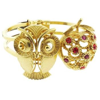 Gerard Yosca - Owl & Filigree Apple On Golden Hued Hinged Cuff (1)