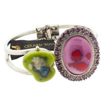 Gerard Yosca - Pink Oval Vintage Stone on Silver Hued Hinged Cuff (1)