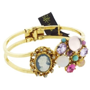 Gerard Yosca - Pink Stone w/Cameo on Golden Hued Hinged Cuff (1)
