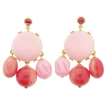 Gerard Yosca - Pink Stone on Mega Circle Earrings (2 Earrings Per Set) (All sales final on sale items.)