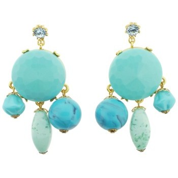 Gerard Yosca - Turquoise Stone on Mega Circle Earrings (2 Earrings Per Set) (All sales final on sale items.)