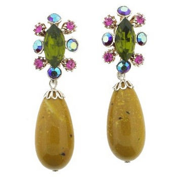 Gerard Yosca - Green Navette Earrings w/Drop (2 Earrings Per Set)