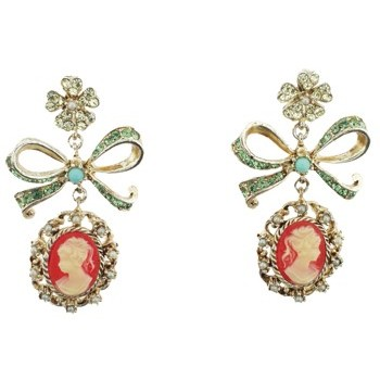 Gerard Yosca - Coral Cameo On Bow Earring (Set of 2 earrings)