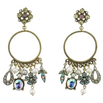 Gerard Yosca - Multi Charm Earring On Circle Ear - White (2 Earrings Per Set)