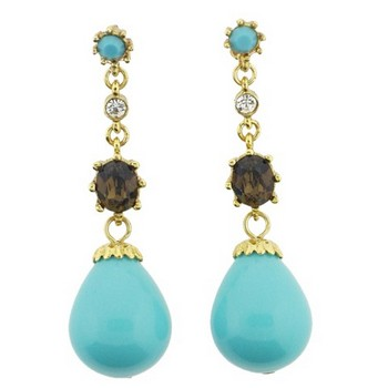 Gerard Yosca - Turquoise Filigree Drop Pierced Earrings (2 Earrings Per Set)