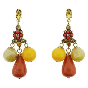 Gerard Yosca - Yellow Crystal Earrings With Drops (1)