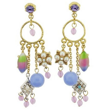 Gerard Yosca - Purple Stone Multi Charm Drop Earrings (2 Earrings Per Set)