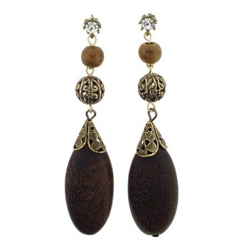 Gerard Yosca - Large Wood Oval Drops On Long Earrings (2 Earrings Per Set)
