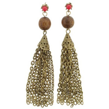 Gerard Yosca - Coral Stone Earrings w/Wood Bead (2 Earrings Per Set)