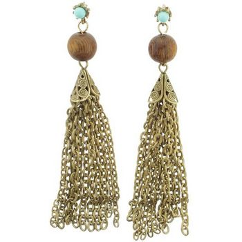 Gerard Yosca - Turquoise Stone Earrings w/Wood Bead (2 Earrings Per Set)