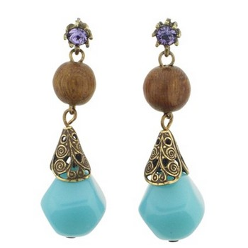 Gerard Yosca - Turquoise Bead Earring w/Drop (2 Earrings Per Set)