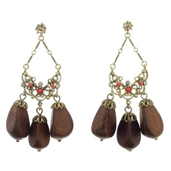 Gerard Yosca - Coral Stone Earrings w/Wood Drops (2 Earrings Per Set) (All sales final on sale items.)