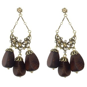 Gerard Yosca - Lt. Colorado Stone Earrings w/Wood Drops (2 Earrings Per Set) (All sales final on sale items.)