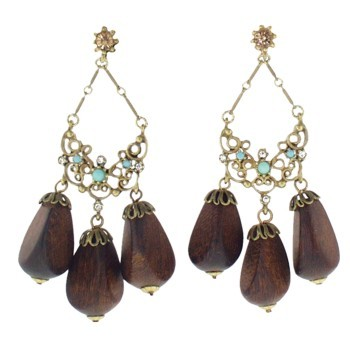 Gerard Yosca - Turquoise Stone Earrings w/Wood Drops (2 Earrings Per Set) (All sales final on sale items.)