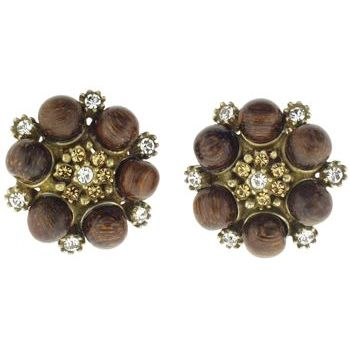 Gerard Yosca - Wood Beads & Lt. Colorado Swaroski Crystals Clip On Earrings (2 Earrings Per Set)
