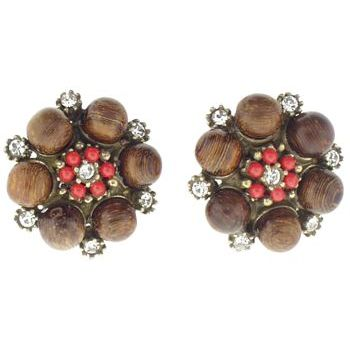 Gerard Yosca - Wood Beads & Coral Swarovski Crystal Clip On Earrings (2 Earrings Per Set)