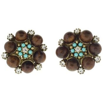 Gerard Yosca - Wood Beads & Turquoise Swarovski Crystals Clip On Earrings (2 Earrings Per Set)