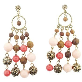 Gerard Yosca - Light & Dark Coral & Filigree Beads On Post (Set of 2 earrings)