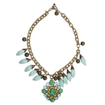 Gerard Yosca - Aqua Bead & Filigree Necklace w/Large Drop (1)