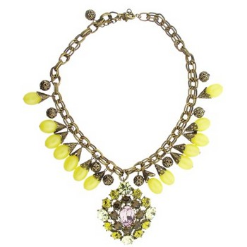 Gerard Yosca - Yellow Bead & Filigree Necklace w/Large Drop (1)