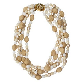 Gerard Yosca - Neutral/Multi Strand Necklace w/Stone Clasp (1)