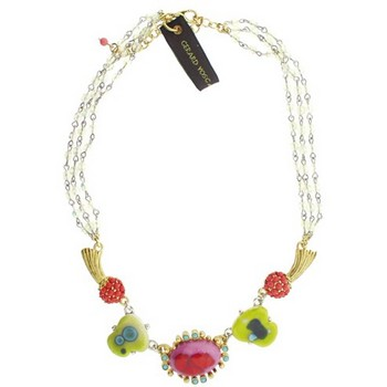 Gerard Yosca - Pink Vintage Stone on Link Chain Necklace (1)