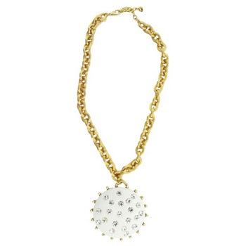 Gerard Yosca - White Disc Drop On Chain Necklace (1)