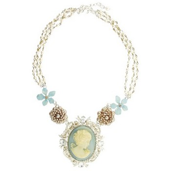 Gerard Yosca - Large Blue Cameo On Pearl Chain Necklace (1)