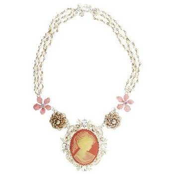 Gerard Yosca - Large Coral Cameo On Pearl Chain Necklace (1)