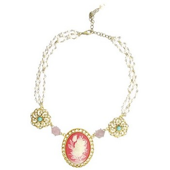 Gerard Yosca - Large Rose Cameo on Pearl Chain Necklace (1)