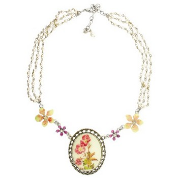 Gerard Yosca - Large Poppy Flower Stone on Pearl Chain Necklace (1)