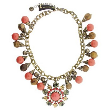 Gerard Yosca - Coral/Wood Bead Necklace w/Superstone Drop (1)