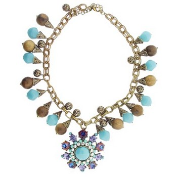 Gerard Yosca - Turquoise/Wood Bead Necklace w/Superstone Drop (1)