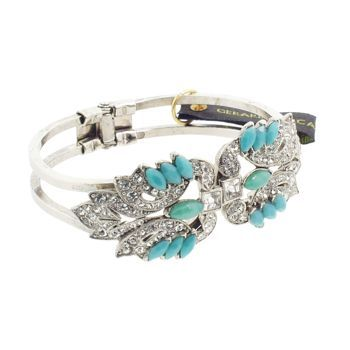 Gerard Yosca - Crystal & Green Stone Deco on Silver Hued Hinged Cuff (1)
