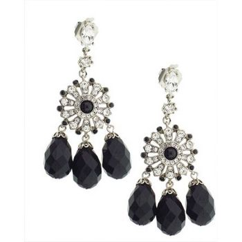 Gerard Yosca - Jet Stone Earrings w/Jet Teardrops (2 Earrings Per Set) (All sales final on sale items.)