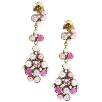 Gerard Yosca - Pink & Pearl Stone Earrings w/Drops (2 Earrings Per Set)