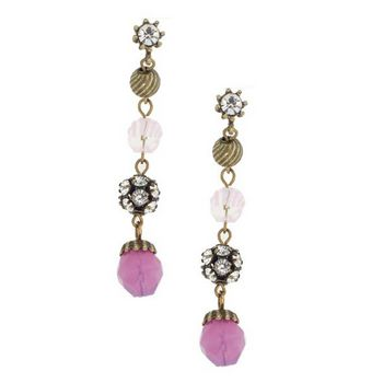 Gerard Yosca - Pink Bead & Filigree Drop Earrings (2 Earrings Per Set)
