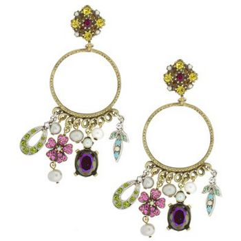 Gerard Yosca - Multi Charm Earring On Circle Ear - Ruby (2 Earrings Per Set)