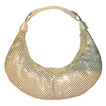 Amici Accessories - Gold Disco Dot Hobo with Ivory Metallic Strap and Sides