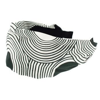Karen Marie - Retro Black & White Sateen Scarf Headband - Retro Bullseye (1)