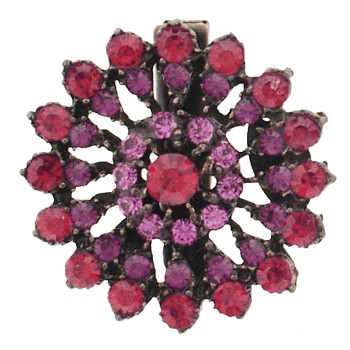 SOHO BEAT - Masquerade Collection - Jeweled Swarovski Firework Hair Clip - Ruby Red & Pink Sapphire
