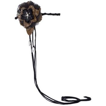 Tarina Tarantino - Braided Suede Headband with Leather Flower - Silver Shade
