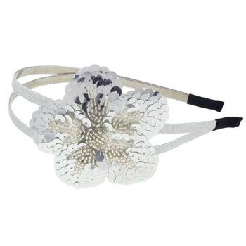 Juko - Double Band w/Sequin Flower Headband - Silver (1)