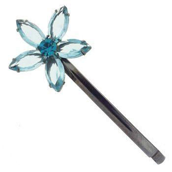 Alex and Ani - Arched Flower Hair Pin w/ Five Crystal Petals - Teal (1)