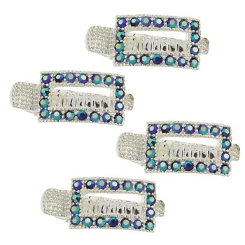 HB HairJewels - Alligator Clips - Tanzanite - Set of 4 Mini Clips (1 1/4