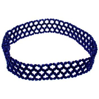 Beaded Stretch Headband - Shimmery Midnight Blue (1)