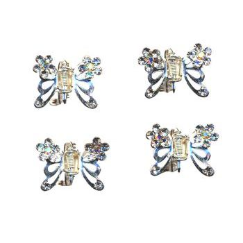 HB HairJewels - Austrian Crystal Mini Butterfly Clips - White Diamond (4)